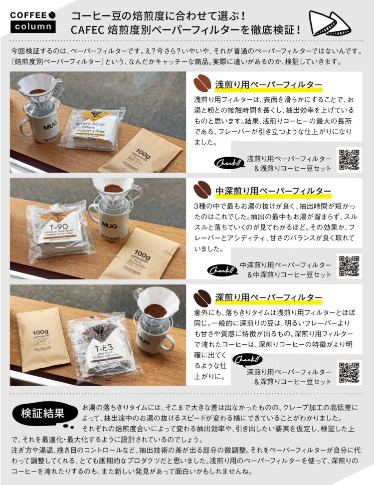 コーヒー豆の焙煎度に合わせて選ぶ! CAFEC 焙煎度別ペーパーフィルターを徹底検証!